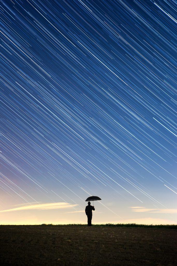 Filet d'étoile grâce à la pose longue en photographie