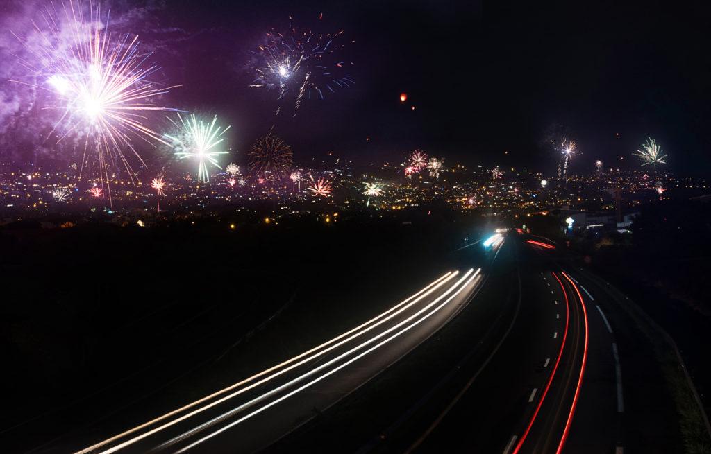 Feux d'artifice pour le nouvel an à l'île de la Réunion