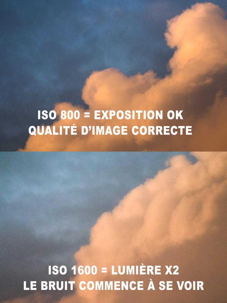 la sensibilité ISO en photographie et exemple sur un ciel